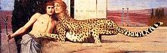 Het schilderij De streling stelt een wezen voor met het hoofd van een vrouw en het lichaam van een cheeta