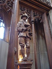 Figure of an officer on the memorial to the 4th Battalion, Queen's Royal Regiment (West Surrey), in Croydon Minster
