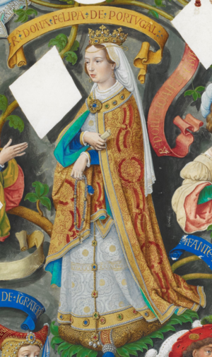 Philippa of Lancaster - Queen Filipa in Genealogia dos Reis de Portugal (António de Holanda; 1530-1534)
