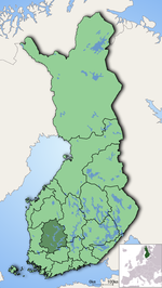 Pirkanmaa on a map o Finland