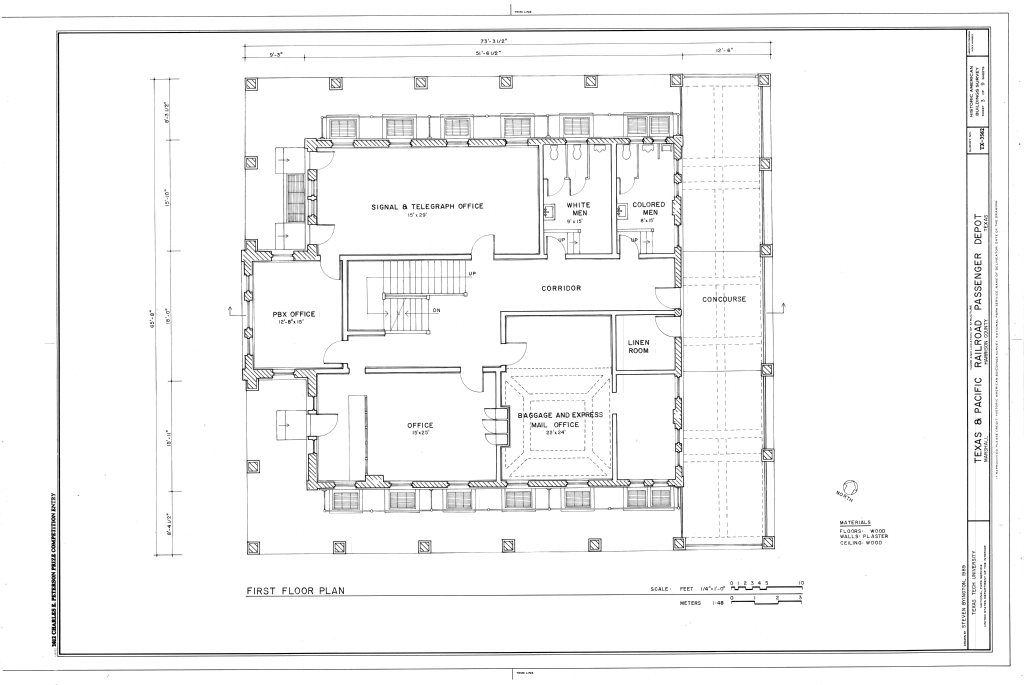 Cars For Free >> File:First Floor Plan - Texas and Pacific Railroad Passenger Depot, 800 North Washington Street ...