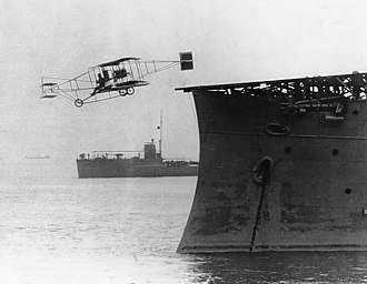 USS Birmingham (CL-2) - Pilot Eugene Ely takes off from USS Birmingham, Hampton Roads, Virginia, 14 November 1910