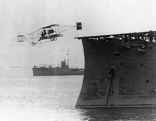 Ely takes off from the USS Birmingham, Hampton Roads, Virginia, November 14, 1910 First airplane takeoff from a warship.jpg