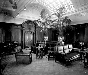 Bedford Lemere - First class smoking room in the Orama, 1911