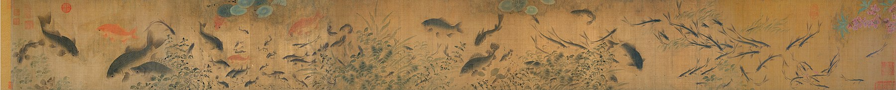 A hand scroll showing carp and other types of fish swimming
