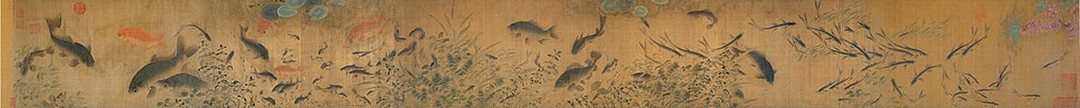 Carp and other types of fish in Fish Swimming Amid Falling Flowers, a Song dynasty painting attributed to Liu Cai (circa 1080–1120)
