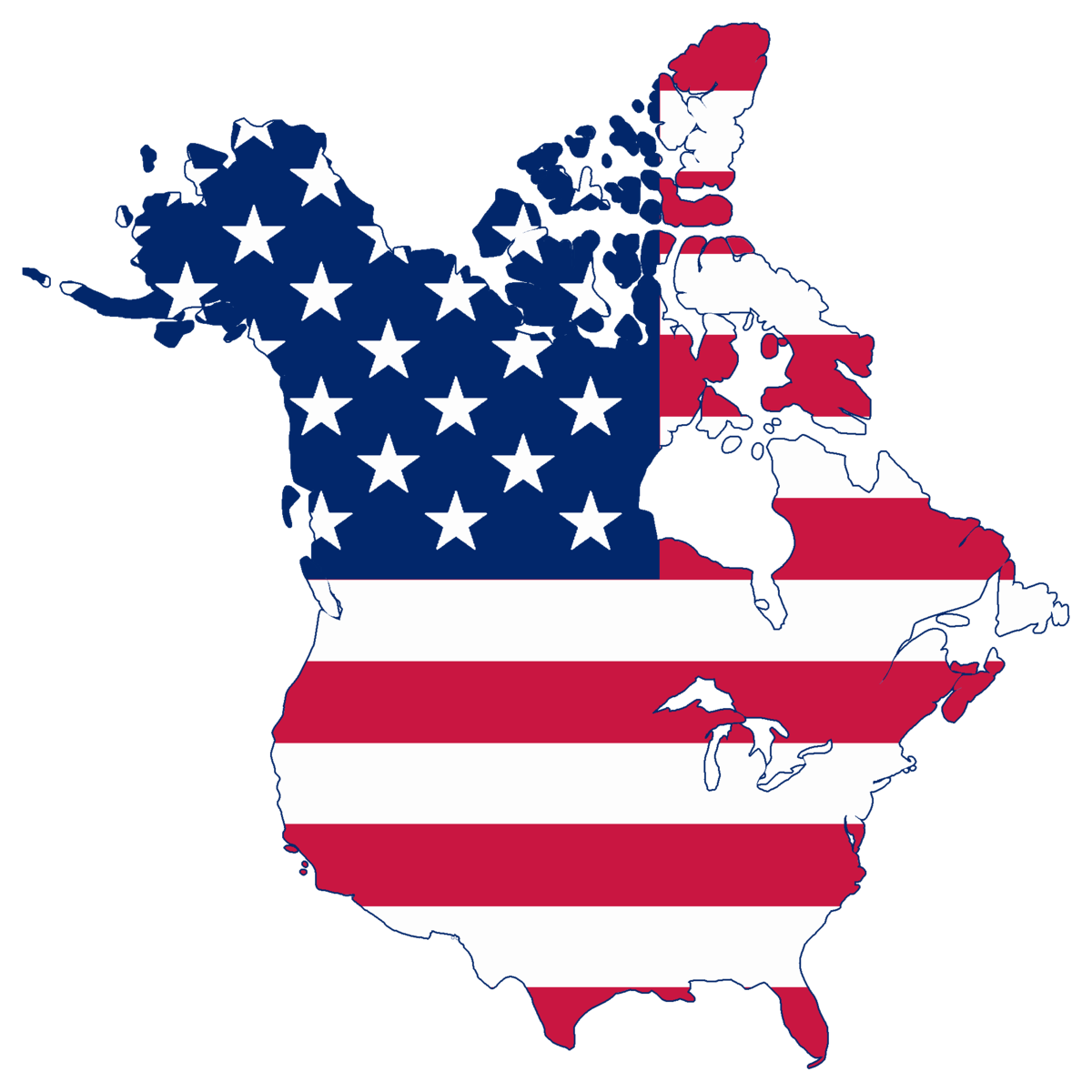Canada And Usa Flag Map File:Flag map of Canada and United States (American Flag).png