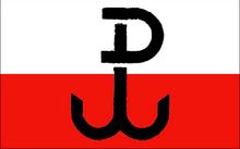 Neoficiálna vlajka podzemného poľského štátu a armii krajowej