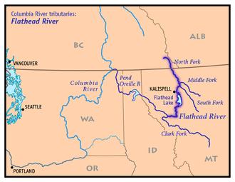Flathead River - Image: Flathead River Map