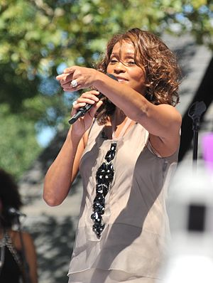 American singer Whitney Houston performing on ...