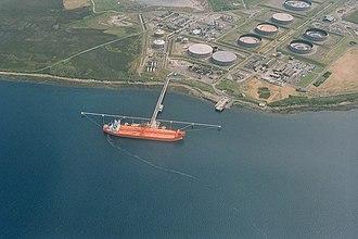 Flotta - An aerial view of Flotta Oil Terminal in 2007