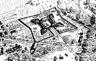 Fort Le Boeuf in 1754. In the spring of 1753, the French began to build a series of forts in the Ohio Country. Fort Le Boeuf.jpg