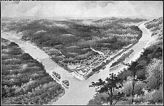 Fort Pitt (Pennsylvania) - Artist's interpretation of Fort Pitt in 1759, with Allegheny (left) and Monongahela rivers. At their confluence is the Ohio River (bottom)