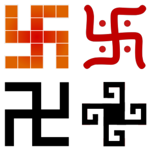 Swastika - A swastika is a symbol found in many cultures, with different meanings, drawn in different styles.