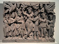 Four Scenes from the Life of the Buddha - Birth of the Buddha - Kushan dynasty, late 2nd to early 3rd century AD, Gandhara, schist - Freer Gallery of Art - DSC05128.JPG