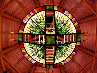 Four Winds New Buffalo - Stained glass entryway of Four Winds New Buffalo in March 2008