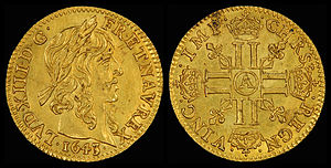Louis XIII of France - Half Louis d'Or (1643) depicting Louis XIII