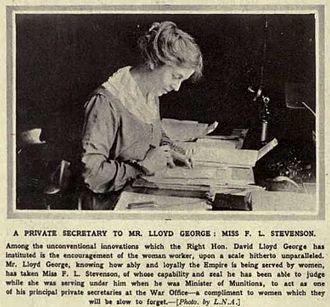 """Frances Lloyd George, Countess Lloyd-George of Dwyfor - """"A Private Secretary to Mr. Lloyd George: Miss F.L. Stevenson"""""""