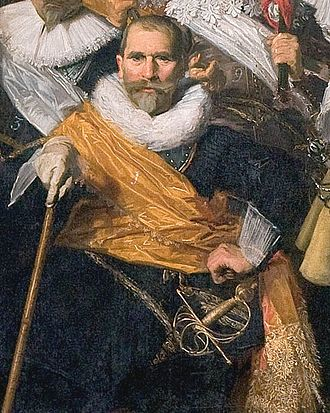 Johan Claesz Loo - Portrait of Johan Claesz Loo, detail of Frans Hals' schutterstuk The Officers of the St Adrian Militia Company in 1633