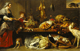 Kitchen Still Life with a Maid and Young Boy