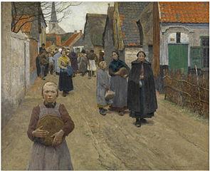 Brooduitdeling in het dorp