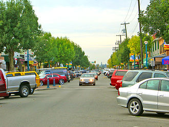 Langley, British Columbia (city) - One-way section of Fraser Highway