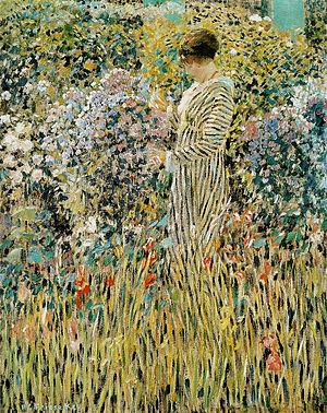 Decorative Impressionism - Frederick Frieseke. Lady in a Garden.