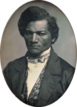 Ex-slave and prominent anti-slavery advocate Frederick Douglass opposed the Mexican-American War. Frederick Douglass by Samuel J Miller, 1847-52.png