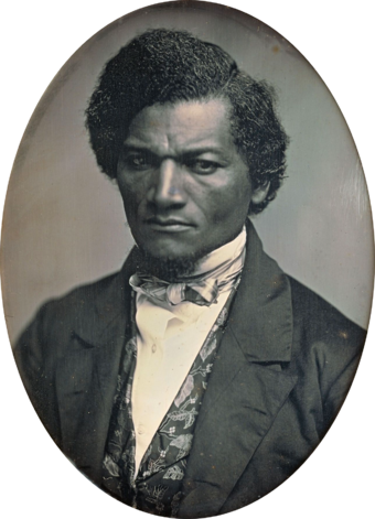 Ex-slave and prominent anti-slavery advocate Frederick Douglass (circa 1847-52) opposed the Mexican-American War. Frederick Douglass by Samuel J Miller, 1847-52.png