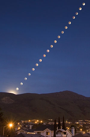 Mission Peak - A lunar eclipse (shown in time lapse composite) rises over Mission Peak in Feb. 2008