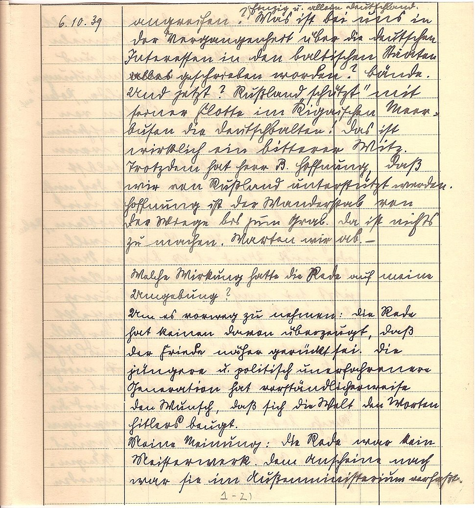 Friedrich Kellner diary Oct 6, 1939 p3