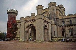 Eastnor Castle - Front entrance of Eastnor Castle in 1992
