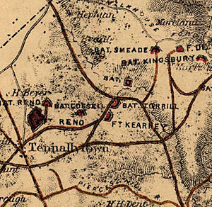Fort Kearny (Washington, D.C.) - A closeup of an 1865 map of Washington, D.C.'s defenses, showing the location of Fort Kearny to the northeast of Tenleytown.