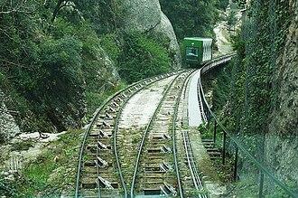 Santa Cova Funicular - Cars at the passing loop.
