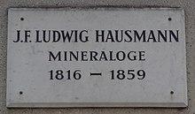 Göttinger Gedenktafel für Johann Friedrich Ludwig Hausmann (Quelle: Wikimedia)