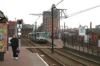Deansgate-Castlefield tram stop - Deansgate-Castlefield in 2007, then known as G-Mex tram stop, prior to redesign