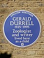 GERALD DURRELL 1925-1995 Zoologist and writer lived here as a child.jpg