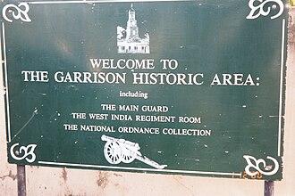 Garrison Historic Area - Image: Garrison area (sign), Barbados