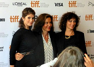 Gemma Bovery (film) - Gemma Arterton, Anne Fontaine, and Isabelle Candelier promoting the film at the 2014 Toronto Film Festival.