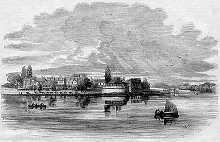 U.S. Naval Academy in 1853 General View of the Naval Academy, Annapolis, Maryland.jpg