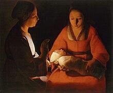 Peinture en clair-obscur de deux femmes tournées toutes deux vers le bébé emmailloté que porte l'une, et qui semble être la source de lumière de la toile.