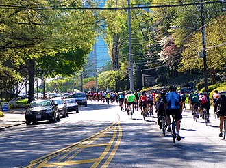 "Buckhead - A cycling event, ""Georgia Rides to the Capitol,"" on Piedmont Road"