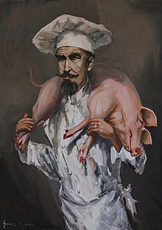 Shoulder Bacon oil on canvas by Irish artist Gerard Byrne, 2015