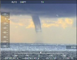 Waterspout - Waterspout filmed off Anglesey, Wales, on 12 November 2010 by an RAF Search and Rescue crew