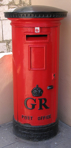 Royal Gibraltar Post Office - An early 20th century George V pillar box in Gibraltar.