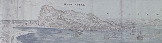 Battle of Gibraltar (1621) - Panoramic View over the Bay of Gibraltar looking towards the Town and the African Coast beyond', by Antonis Van der Wyngaerde, circa 1567