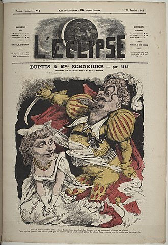 Barbe-bleue (opera) - Cover of L'Eclipse 26 January 1868, with cartoon by Gill of Dupuis and Schneider