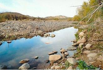 Agua Fria River - The Agua Fria River on the border edge of Gillett, Arizona.