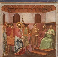Giotto - Scrovegni - -32- - Christ before Caiaphas