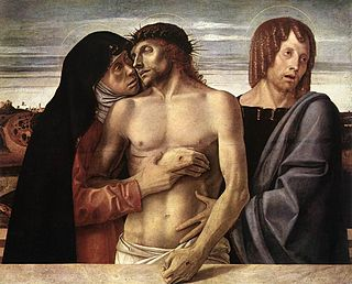 <i>The Dead Christ Supported by the Virgin Mary and St John the Evangelist</i> painting by Giovanni Bellini in the Pinacoteca di Brera